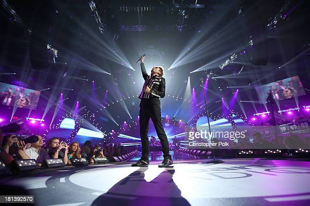Musician Matthew Bellamy of the band Muse performs onstage during the iHeartRadio Music Festival at the MGM Grand Garden Arena on September 20, 2013...