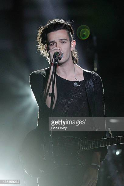 Musician Matthew Healy of The 1975 performs onstage at the 2014 mtvU Woodie Awards and Festival on March 13 2014 in Austin Texas