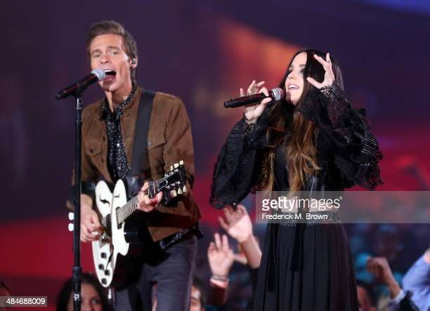 Musician Matthew Koma and singer Miriam Bryant perform onstage at the 2014 MTV Movie Awards at Nokia Theatre L.A. Live on April 13, 2014 in Los...