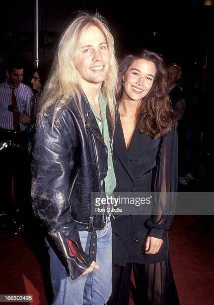 Musician Matthew Nelson and Actress Brooke Langton attend the JFK Westwood Premiere on December 7 1991 at Mann Village Theatre in Westwood California