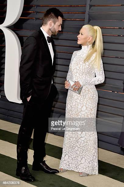Musician Matthew Rutler and recording artist Christina Aguilera attend the 2015 Vanity Fair Oscar Party hosted by Graydon Carter at Wallis Annenberg...