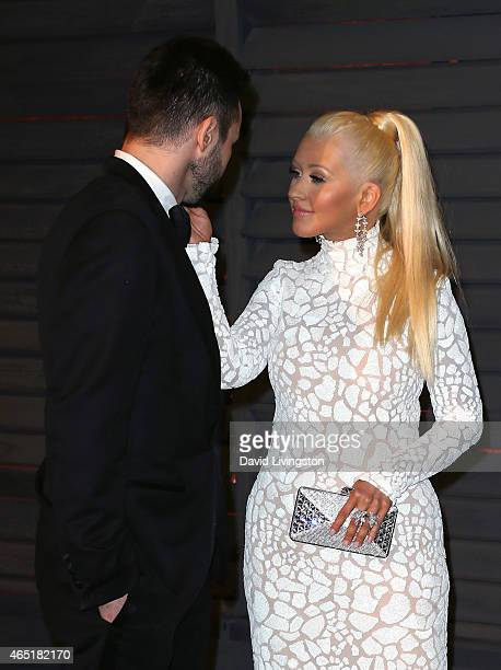 Musician Matthew Rutler and recording artist Christina Aguilera attend the 2015 Vanity Fair Oscar Party hosted by Graydon Carter at the Wallis...