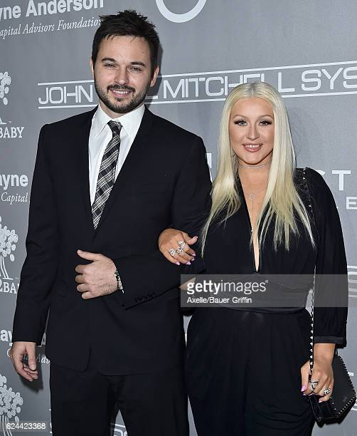 Musician Matthew Rutler and singer Christina Aguilera arrive at the 5th Annual Baby2Baby Gala at 3LABS on November 12 2016 in Culver City California