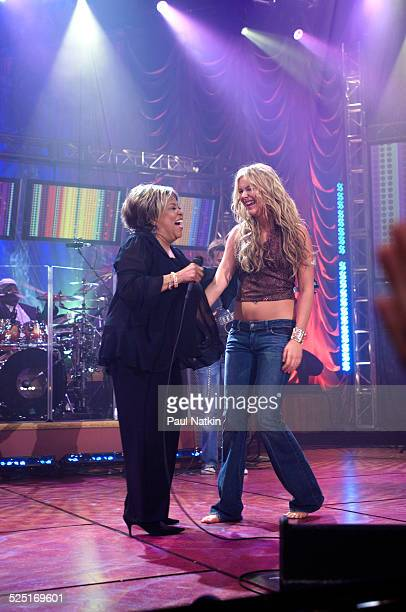 Musician Mavis Staples and Joss Stone perform together during a Soundstage concert for WTTW television Chicago Illinois August 24 2005