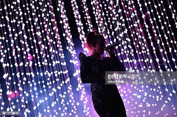 Musician Megan James of Purity Ring performs onstage during day 1 of the 2016 Coachella Valley Music Arts Festival Weekend 1 at the Empire Polo Club...