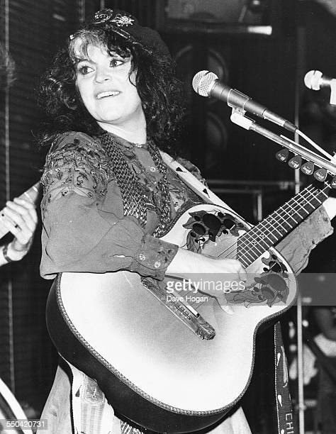 Musician Melanie Safka performing on stage at Embassy club in London November 11t 1983