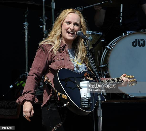 Musician Melissa Etheridge performs at the Dow Live Earth Run For Water at Exposition Park on April 18 2010 in Los Angeles California