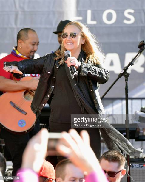 Musician Melissa Etheridge performs during the Women's March Los Angeles 2018 on January 20 2018 in Los Angeles California