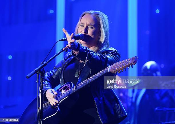 Musician Melissa Etheridge performs onstage during the 2016 PreGRAMMY Gala and Salute to Industry Icons honoring Irving Azoff at The Beverly Hilton...
