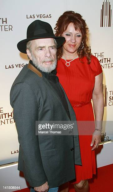 Musician Merle Haggard and wife Theresa Ann Lane are seen arriving for the grand opening of The Smith Center for the Performing Arts on March 10 2012...