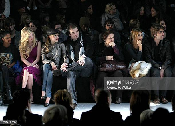 Musician MIA socialite Lydia Hearst actress Brittany Murphy Simon Monjack and EditorinChief of French Vogue Carine Roitfeld attend the Diesel Fall...