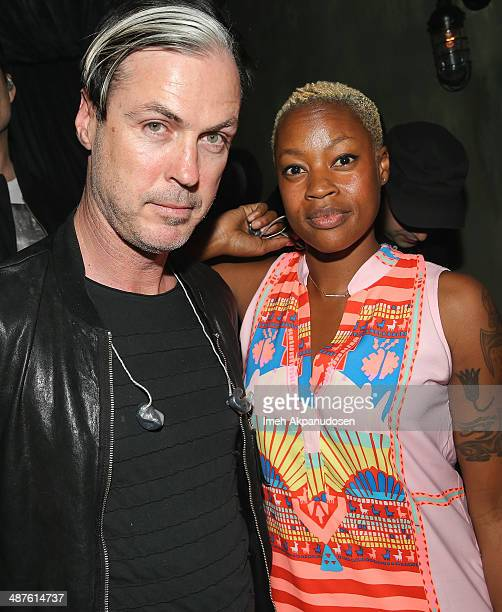 Musician Michael Fitzpatrick and singer/songwriter Noelle Scaggs of Fitz And the Tantrums pose backstage before performing a secret show at The...