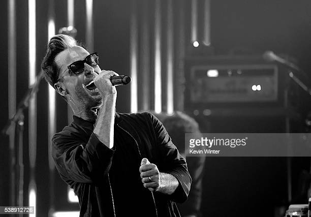 Musician Michael Fitzpatrick of Fitz and the Tantrums performs on the Honda Stage at iHeartRadio Theater on June 8 2016 in Burbank California
