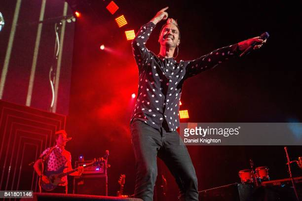 Musician Michael Fitzpatrick of Fitz The Tantrums performs on stage at Mattress Firm Amphitheatre on September 1 2017 in Chula Vista California