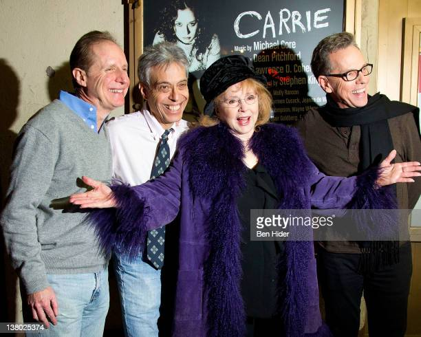 Musician Michael Gore Author Lawrence D Cohen Piper Laurie and Lyricist Dean Pitchford attend the Carrie cast photo call at the Lucille Lortel...