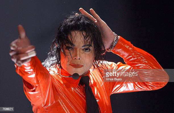 Musician Michael Jackson performs at the taping of 'American Bandstands 50thA Celebration' television special honoring the music show April 20 2002...