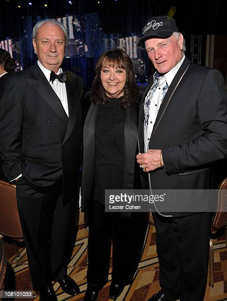 Musician Michael Nesmith formerly of The Monkees Vice President Film/TV Relations Doreen Ringer Ross and musician Mike Love of The Beach Boys attend...