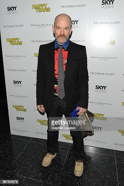 Musician Michael Stipe attends a screening of Happy Tears hosted by the Cinema Society and Donna Karan at The Museum of Modern Art on February 16...