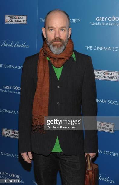 Musician Michael Stipe attends The Cinema Society and Brooks Brothers screening of The Great Buck Howard at the Tribeca Grand Screening Room on March...