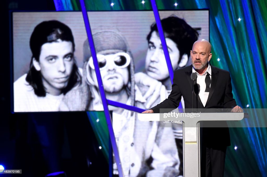Musician Michael Stipe speaks onstage at the 29th Annual Rock And Roll Hall Of Fame Induction Ceremony at Barclays Center of Brooklyn on April 10, 2014 in New York City.