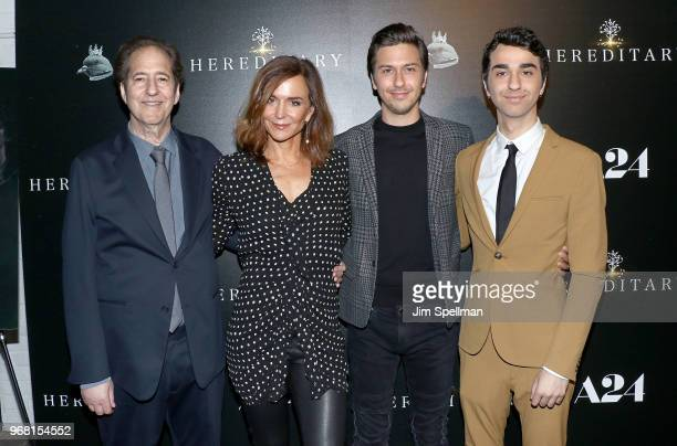 Musician Michael Wolff actors Polly Draper Nat Wolff and Alex Wolff attend the screening of Hereditary hosted by A24 at Metrograph on June 5 2018 in...