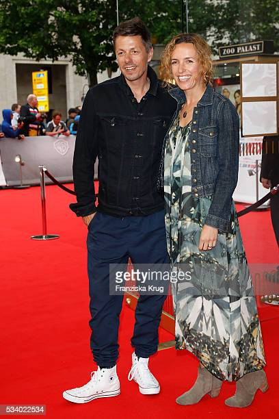 Musician Michi Beck and his wife Ulrike Fleischer attend the premiere of 'Seitenwechsel' at the Zoo Palast on May 24 2016 in Berlin Germany