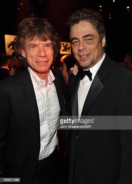 Musician Mick Jagger and actor Benicio Del Toro attend amfAR's Cinema Against AIDS 2010 benefit gala dinner at the Hotel du Cap on May 20, 2010 in...