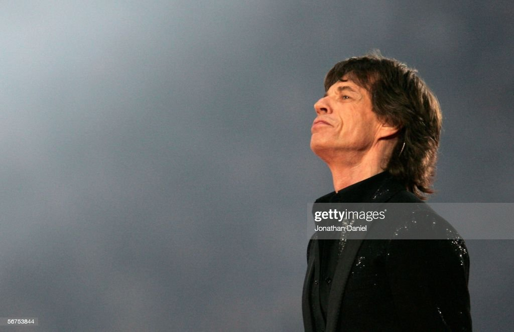 Musician Mick Jagger of The Rolling Stones perform during the 'Sprint Super Bowl XL Halftime Show' at Super Bowl XL between the Seattle Seahawks and the Pittsburgh Steelers at Ford Field on February 5, 2006 in Detroit, Michigan.