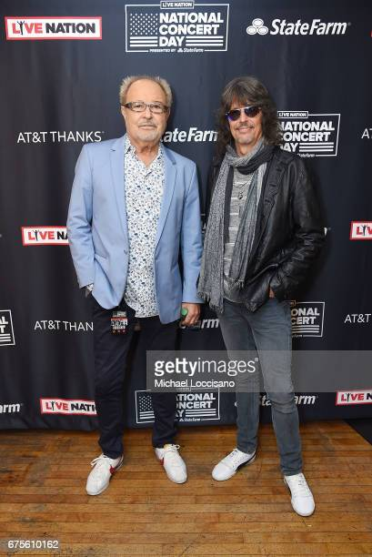Musician Mick Jones and Singer Kelly Hansen of Foreigner attend Live Nation's celebration of The 3rd Annual National Concert Day at Irving Plaza on...