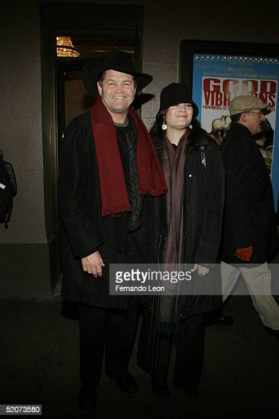 Musician Mickey Dolenz and daughter Emily pose for a photo during the opening night of the musical Good Vibrations on January 27 2005 at the Eugene...