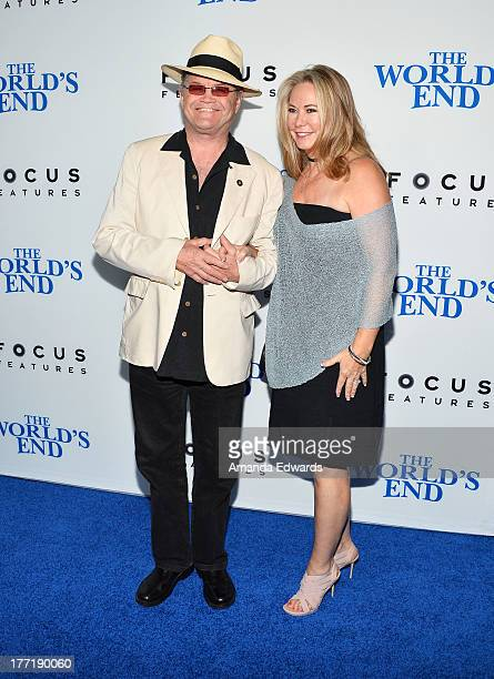 Musician Mickey Dolenz and his wife Donna Quinter arrive at the Los Angeles premiere of The World's End at ArcLight Cinemas Cinerama Dome on August...