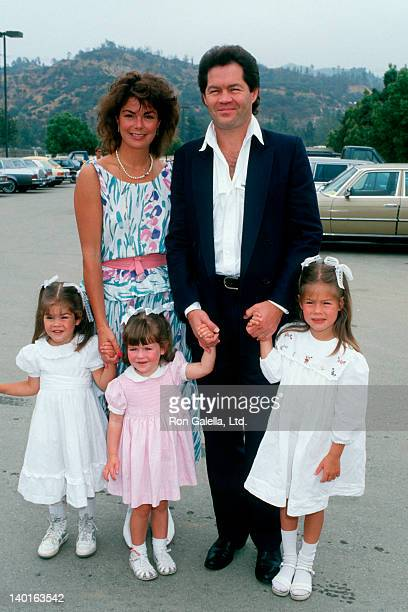 Musician Mickey Dolenz wife Trina Dow and daughters Georgeia Emily and Charlotte attending Hollywood 100 ProCelebrity Polo Matches on June 7 1987 at...