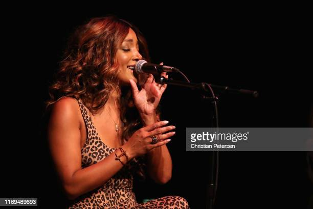 Musician Mickey Guyton performs during the Country Music Association's CMA Songwriters Series at Mesa Arts Center on August 21 2019 in Phoenix Arizona