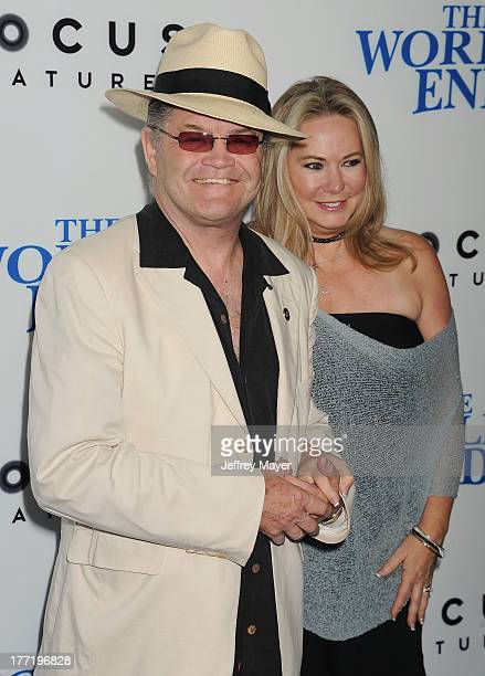 Musician Micky Dolenz and Donna Quinter arrive at the Los Angeles premiere of 'The World's End' at ArcLight Cinemas Cinerama Dome on August 21 2013...