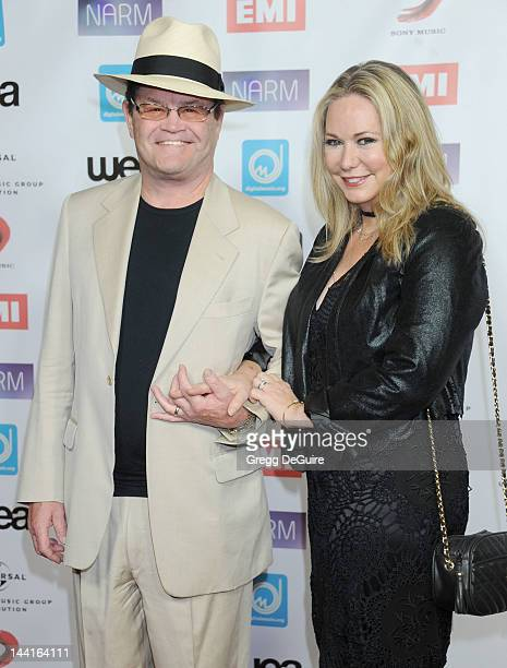 Musician Micky Dolenz and wife Donna Quinter attend the NARM Music Biz 2012 awards dinner party at the Hyatt Regency Century Plaza on May 10 2012 in...