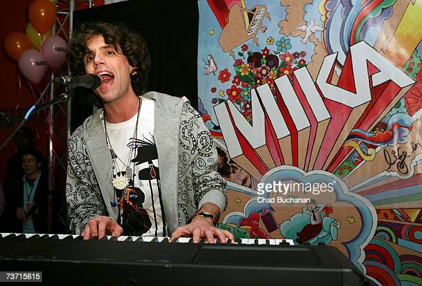 Musician Mika performs at Virgin Records store on March 26 2007 in Los Angeles California