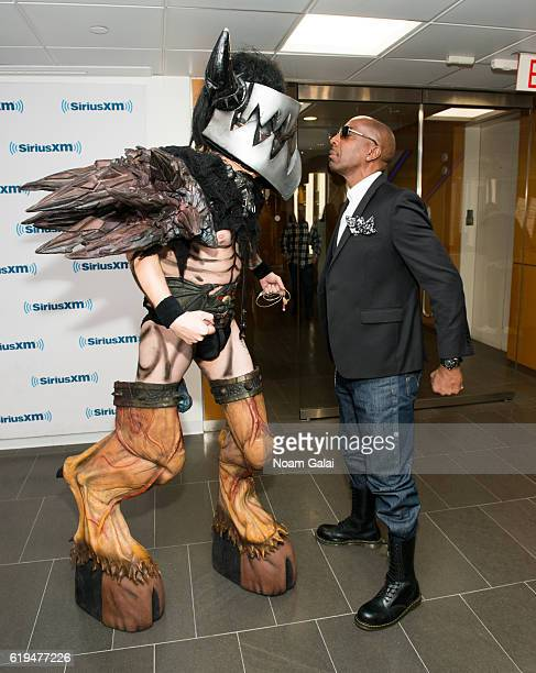 Musician Mike Derks aka Balsac the Jaws of Death of GWAR and actor J B Smoove visit the SiriusXM Studio on October 31 2016 in New York City