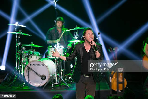Musician Mike Eli of the Eli Young Band performs at the Reba and Friends Outnumber Hunger concert event on Tuesday March 31 2015 in Burbank...