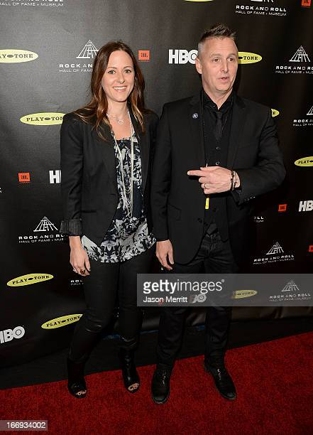 Musician Mike McCready of Pearl Jam and wife Ashley O'Connor arrives at the 28th Annual Rock and Roll Hall of Fame Induction Ceremony at Nokia...