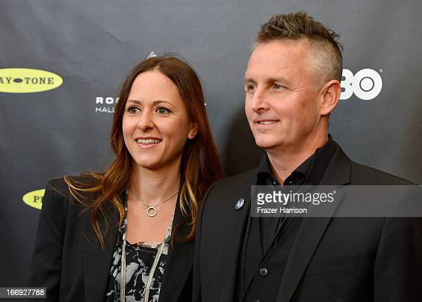 Musician Mike McCready of Pearl Jam and wife Ashley O'Connor attend the 28th Annual Rock and Roll Hall of Fame Induction Ceremony at Nokia Theatre LA...