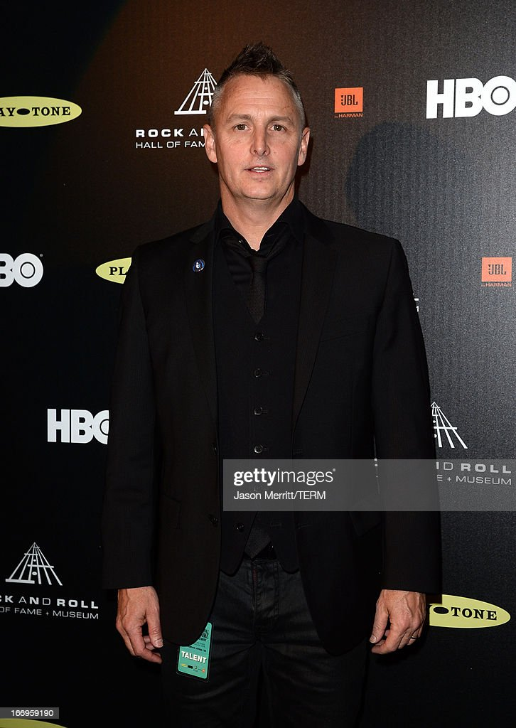 Musician Mike McCready poses in the press room at the 28th Annual Rock and Roll Hall of Fame Induction Ceremony at Nokia Theatre L.A. Live on April 18, 2013 in Los Angeles, California.