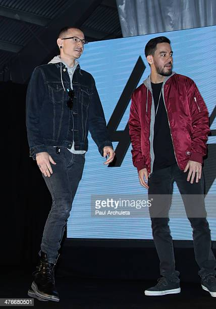 Musician Mike Shinoda and Chester Bennington attend the press conference to announce the tour of Linkin Park Thirty Seconds To Mars and AFI at Milk...