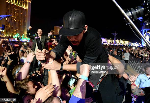 Musician Mike Shinoda of Linkin Park crowd surfs while performing during Rock In Rio USA at the MGM Resorts Festival Grounds on May 9 2015 in Las...