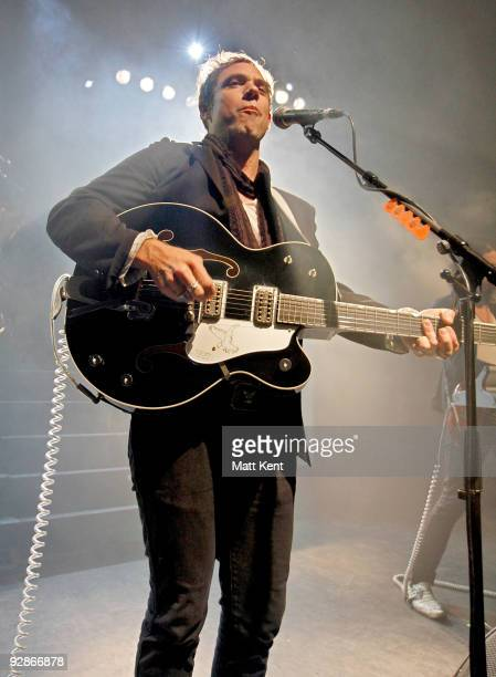 Musician Mikel Jollett of The Airborne Toxic Event performs on stage at Shepherds Bush Empire on November 6 2009 in London England