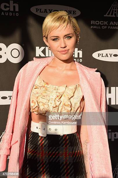 Musician Miley Cyrus attends the 30th Annual Rock And Roll Hall Of Fame Induction Ceremony at Public Hall on April 18 2015 in Cleveland Ohio