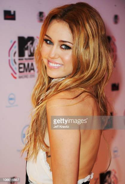 Musician Miley Cyrus attends the MTV Europe Awards 2010 at the La Caja Magica on November 7 2010 in Madrid Spain