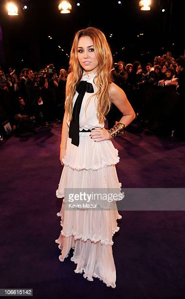 Musician Miley Cyrus attends the MTV Europe Music Awards 2010 at La Caja Magica on November 7 2010 in Madrid Spain