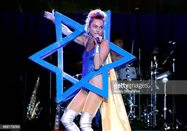 Musician Miley Cyrus performs onstage during Hilarity for Charity's Annual Variety Show James Franco's Bar Mitzvah benefitting the Alzheimer's...