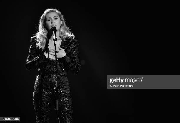 Musician Miley Cyrus performs onstage during MusiCares Person of the Year honoring Fleetwood Mac at Radio City Music Hall on January 26 2018 in New...