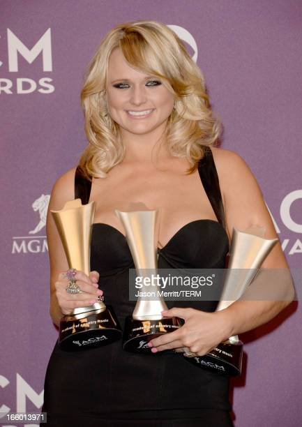 """Musician Miranda Lambert, winner of Song of the Year and Single Record of the Year for """"Over You"""" and Female Vocalist of the Year, poses in the press..."""
